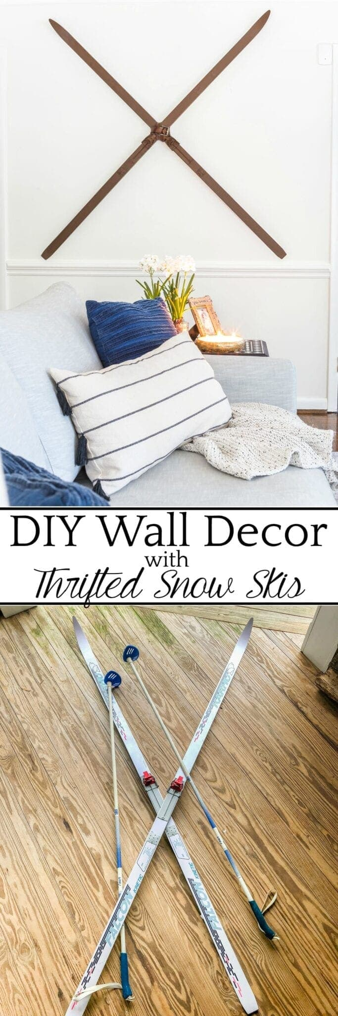 Faux Antique Winter Skis Wall Decor | How to turn basic fiberglass snow skis into winter wall decor using chalk paint and wax for an antique wood finish. #winterdecor #walldecor #christmasdecor #diychristmas #diydecor #thrifting #thriftyhome #thriftydecor #budgetdecor
