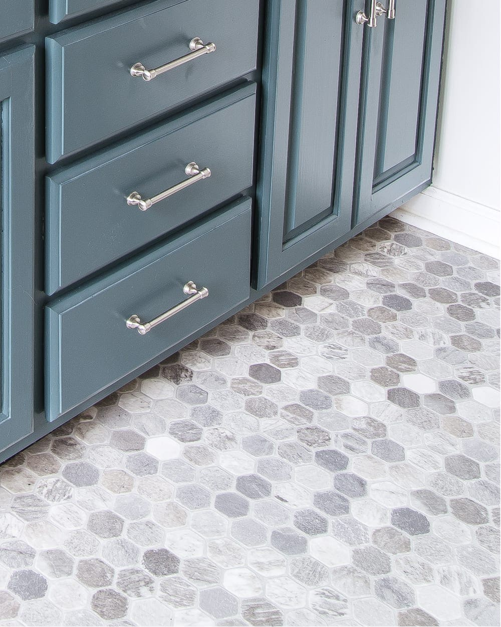 Budget Master Bathroom Refresh Reveal | hexagon tile look sheet vinyl flooring
