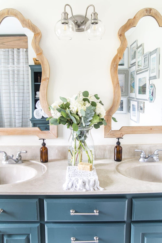 budget master bathroom refresh reveal  bless'er house