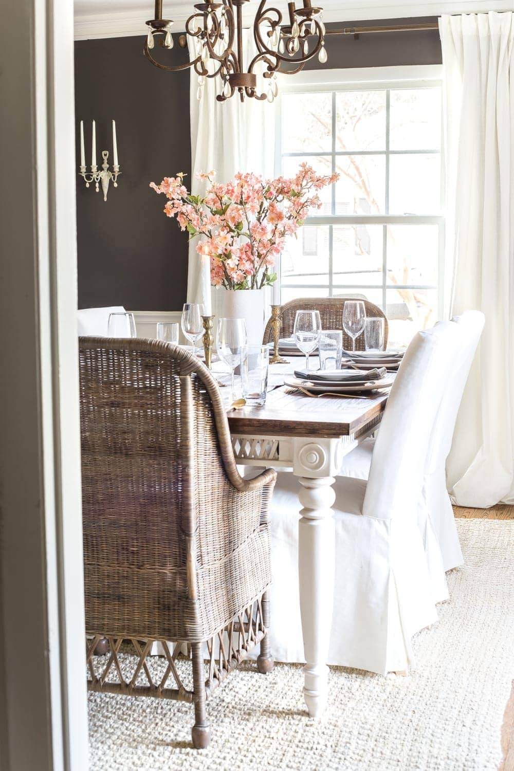 Simple Spring Home Tour | Faux cherry blossoms as a simple dining table centerpiece