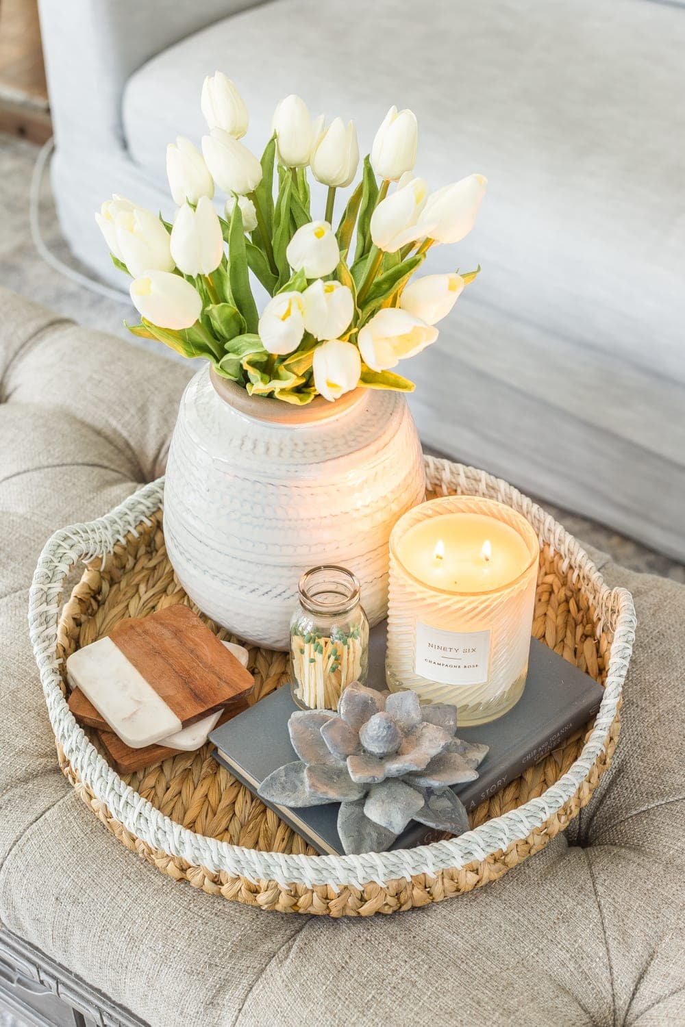 Simple Spring Home Tour | Spring coffee table decor with artificial white tulips