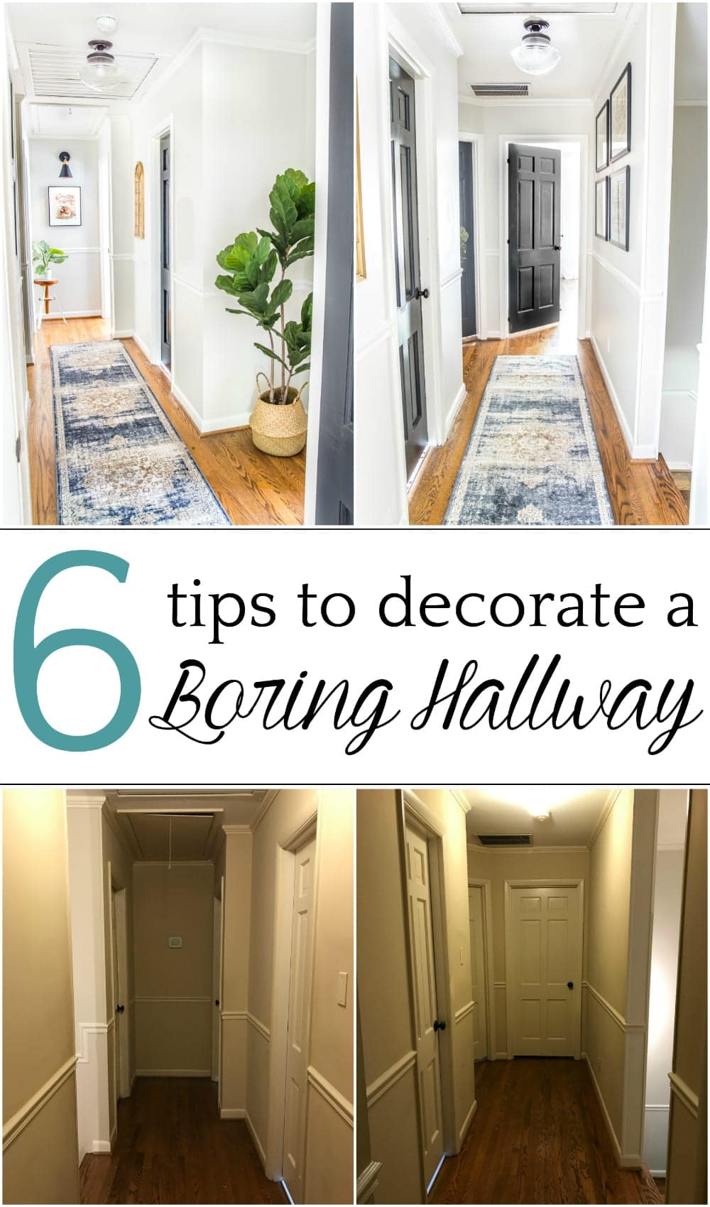 6 Tips to Decorate a Boring Hallway | blesserhouse.com - DIY and decorating ideas to add interest to a boring window-less hallway + thrifting project tutorials and free printables to pull it off inexpensively. #hallway #hallwaydecor #hallwaydecorating