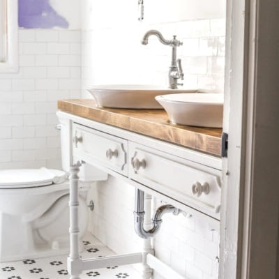 How to Turn a Console Table Into a Bathroom Vanity