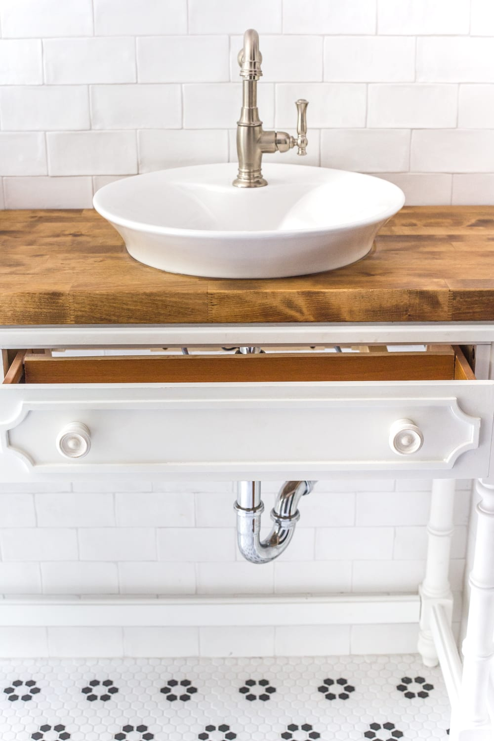 How To Turn A Console Table Into A Bathroom Vanity Bless