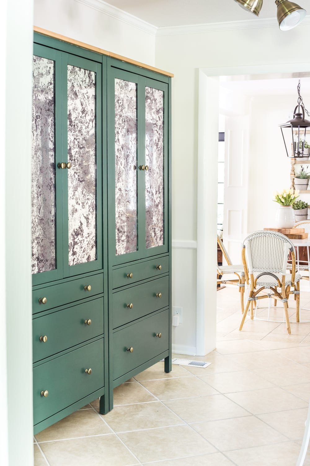 DIY IKEA Hemnes Pantry Cabinet | blesserhouse.com - antique mirror window film and Sherwin Williams Billiard