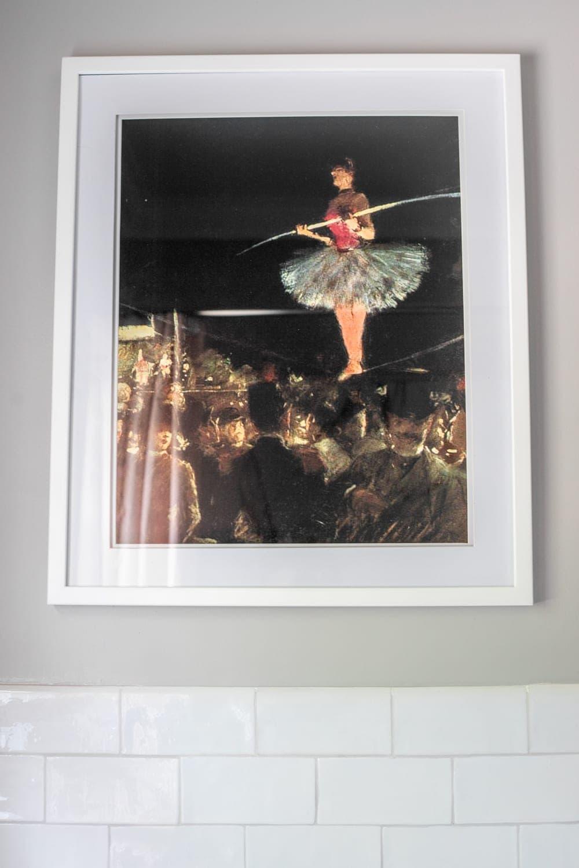 Girls' Bathroom Decor Details & Sources | vintage tightrope walker art