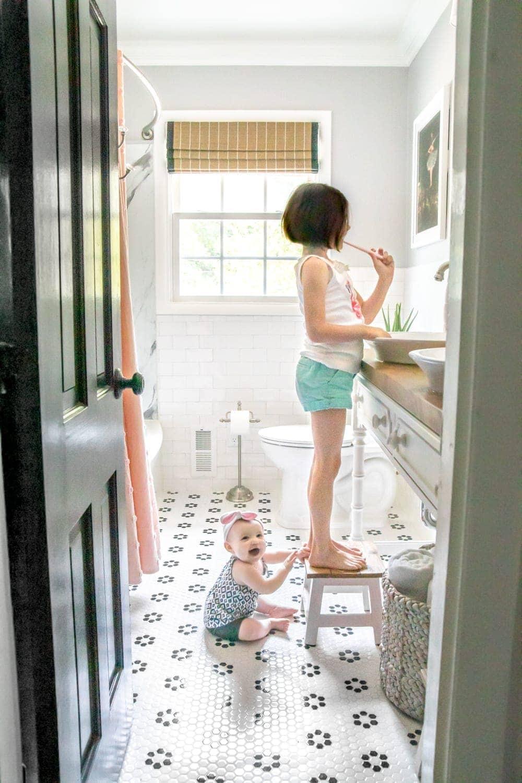 Whimsical, classic kids bathroom makeover for little girls