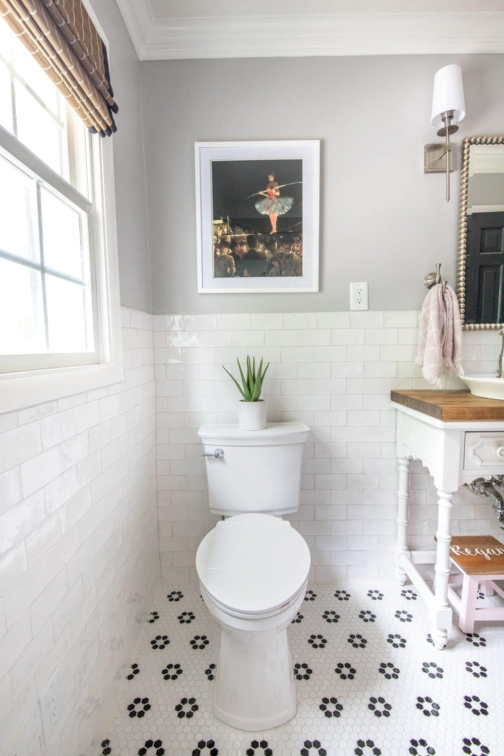 Whimsical, classic kids bathroom makeover | self cleaning toilet from American Standard