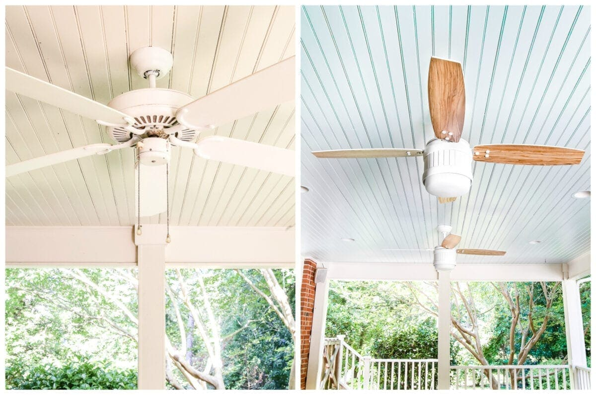 painted Southern haint blue porch ceiling
