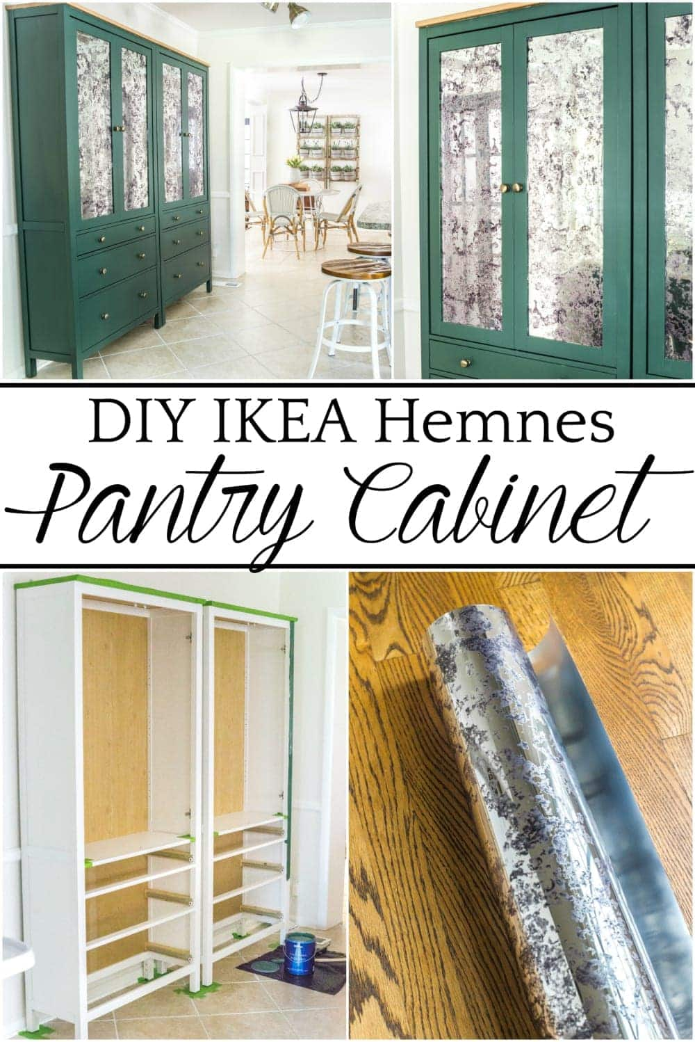 DIY IKEA Hemnes Pantry Cabinet   blesserhouse.com - How to turn an IKEA Hemnes cabinet in a pantry and give it a custom high-end look with antique mirror window film.