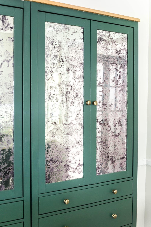 DIY IKEA Hemnes Pantry Cabinet   blesserhouse.com - antique mirror window film and Sherwin Williams Billiard