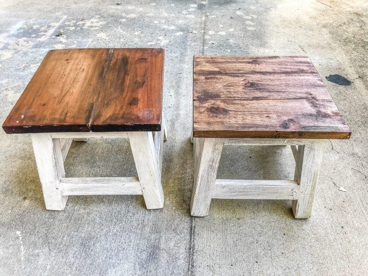 DIY Personalized Step Stools | blesserhouse.com - One easy trick to personalize any piece of wood to paint names and designs on signs and furniture inexpensively. #personalizedstepstool #diysign #diymonogram