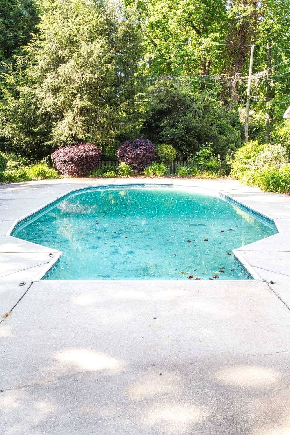 Swimming Pool Liner Makeover Reveal | the before