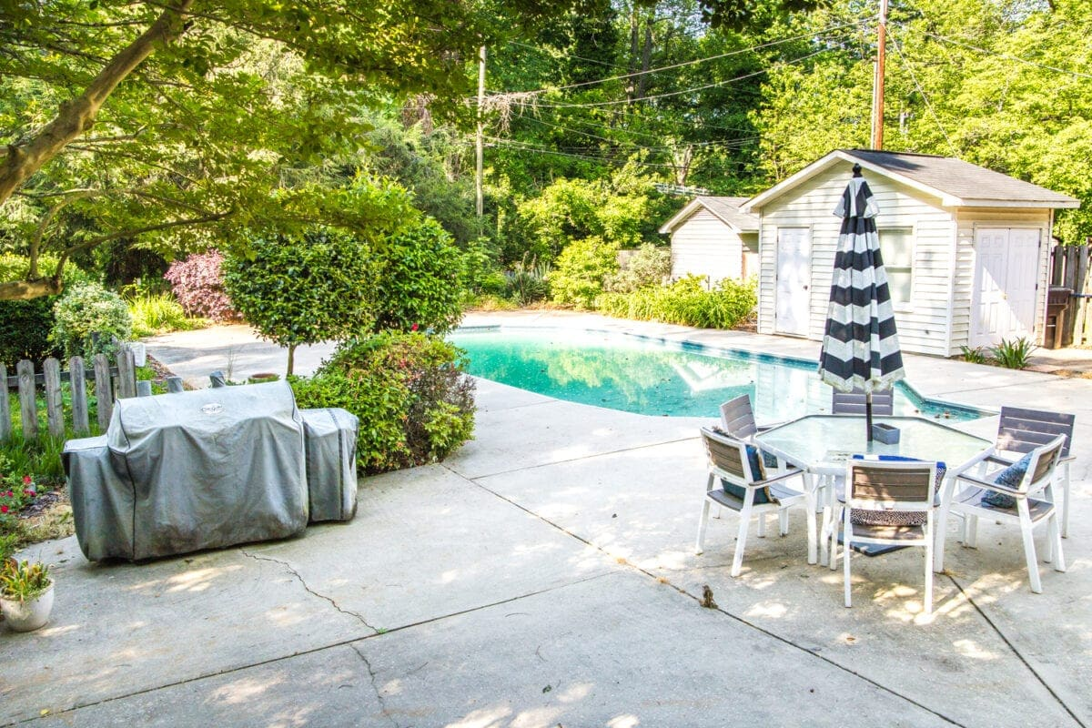 Backyard Before Tour and Pool Makeover Plans | blesserhouse.com - A breakdown of options to upgrade a basic, outdated vinyl liner in-ground pool and ideas to improve a backyard for beauty and function.