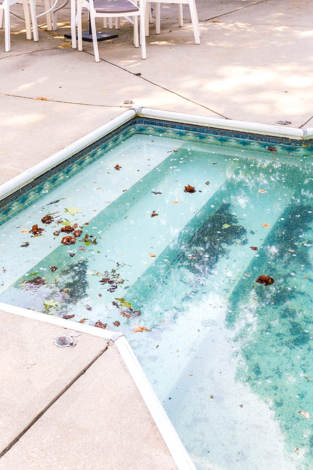 Swimming Pool Liner Makeover Reveal | before