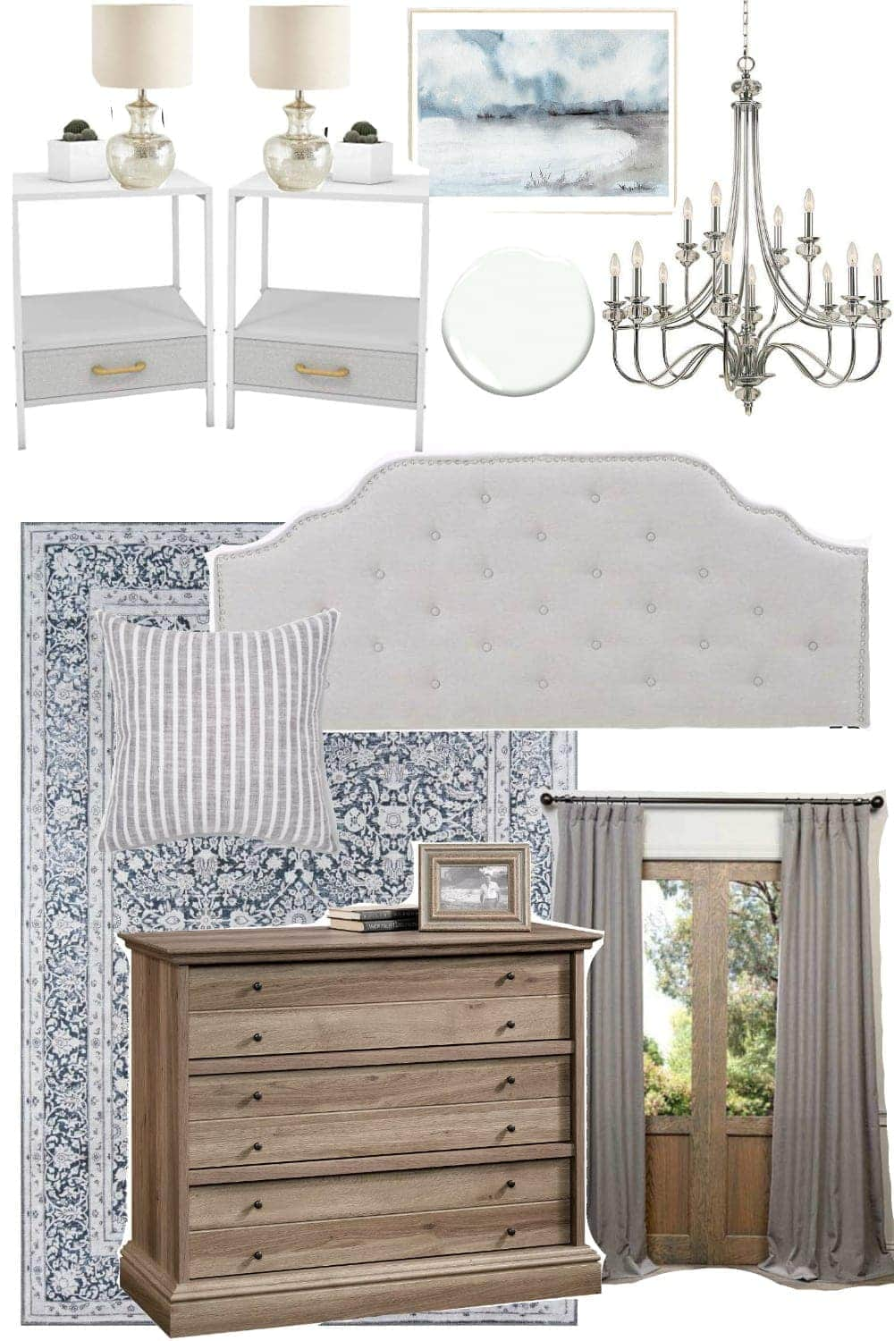 Traditional Glam Bedroom Design Mood Board