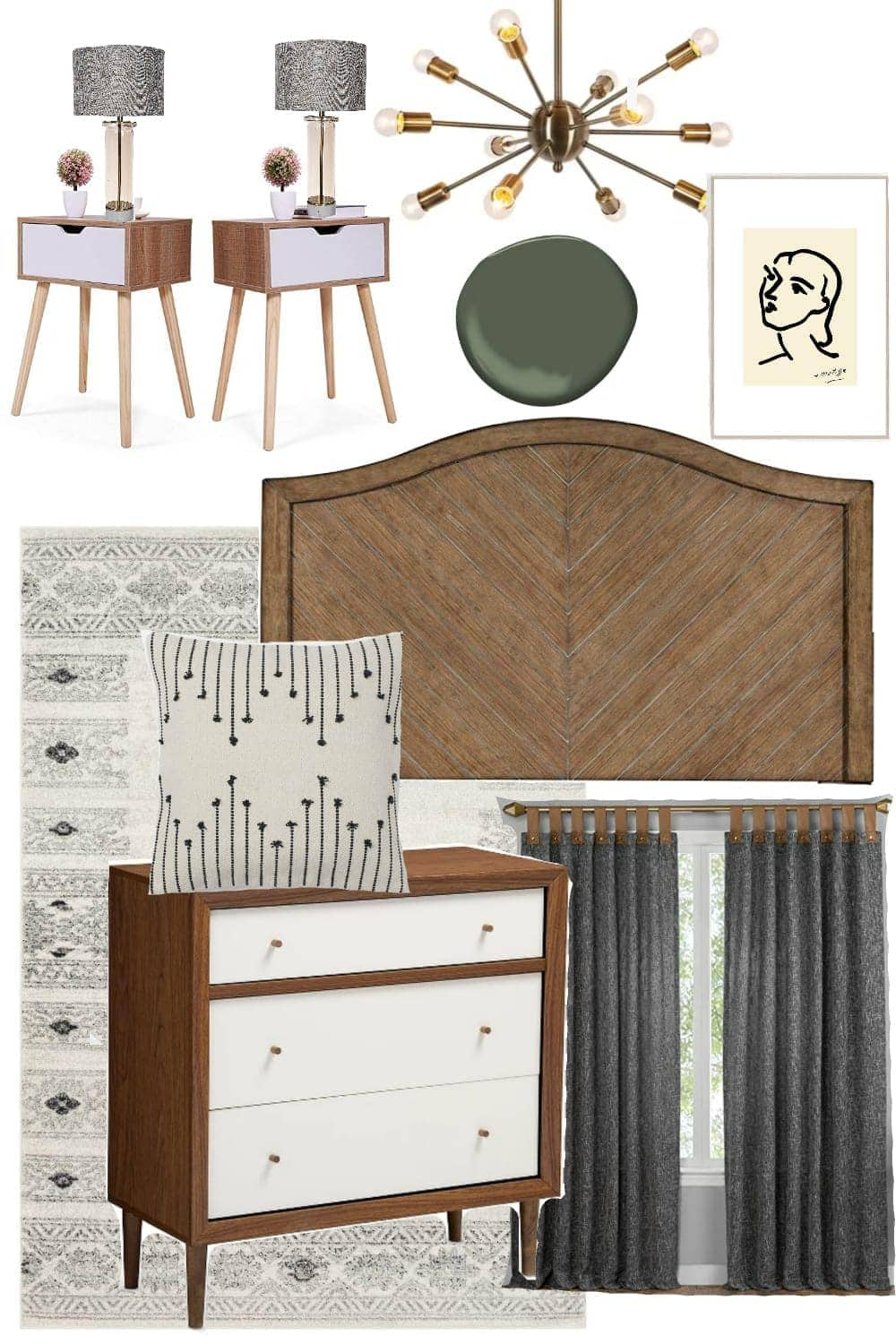 Mid-Century Mod Bedroom Design Mood Board