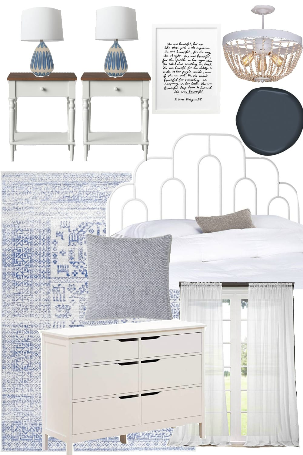 Boho Cottage Bedroom Design Mood Board