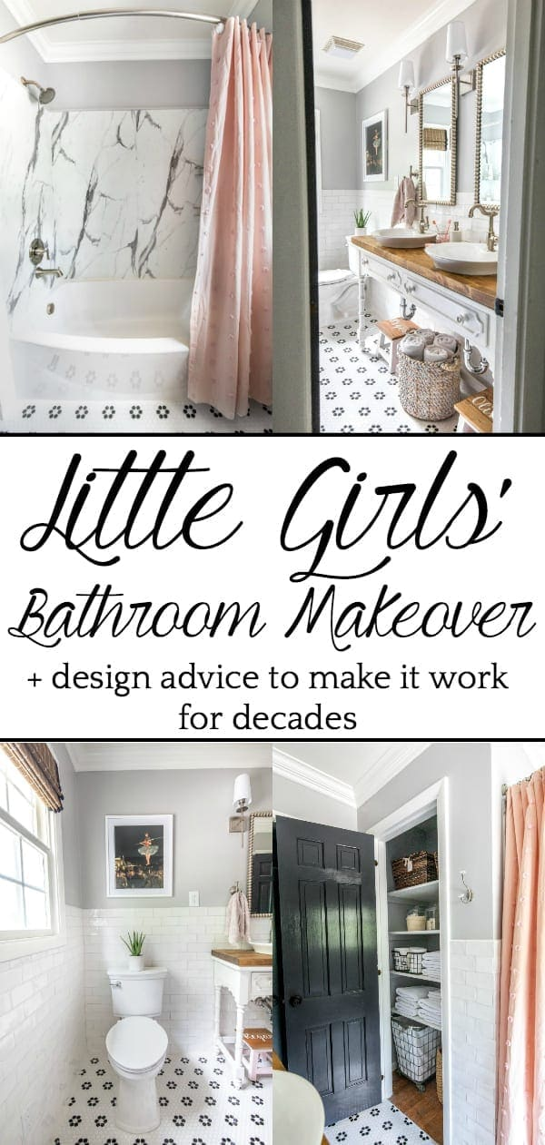Little Girls Bathroom Makeover | A dated bathroom gets a classical, whimsical renovation with modern features well-suited for children.