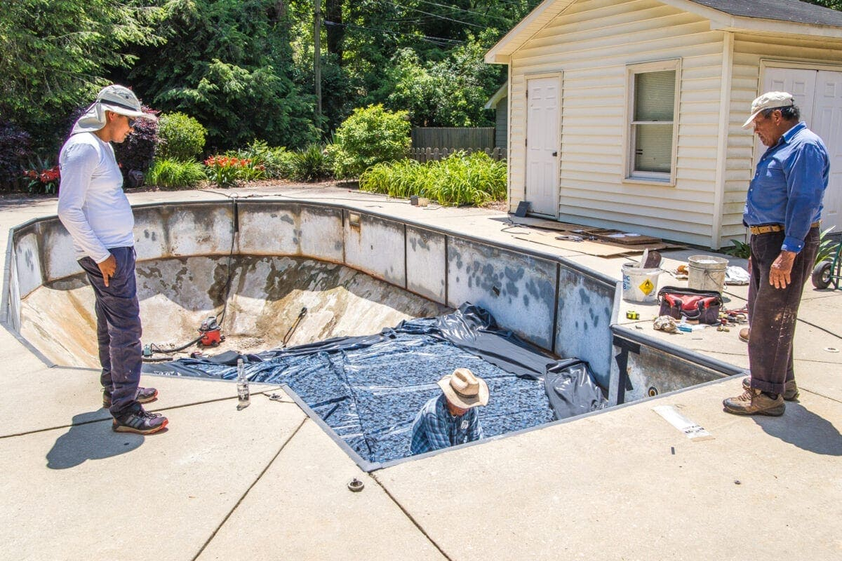 Swimming Pool Liner Makeover Reveal | vinyl pool liner installation