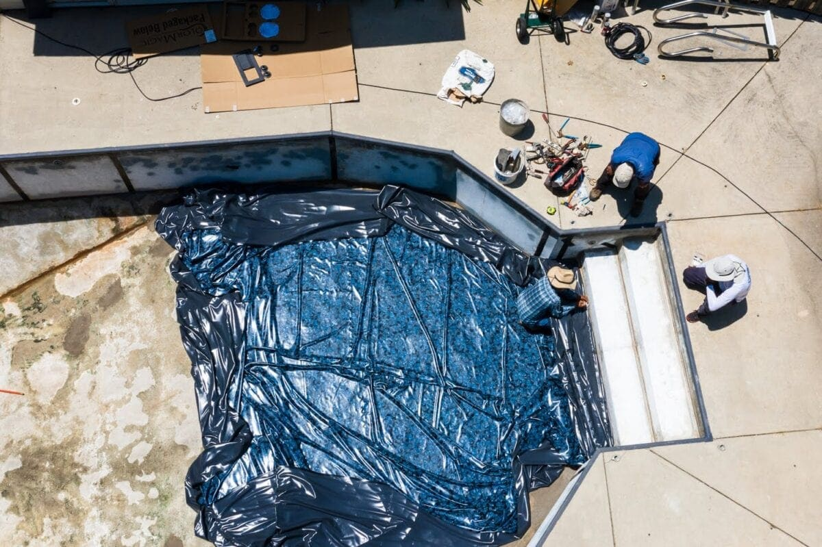 Swimming Pool Liner Makeover Reveal | vinyl liner replacement