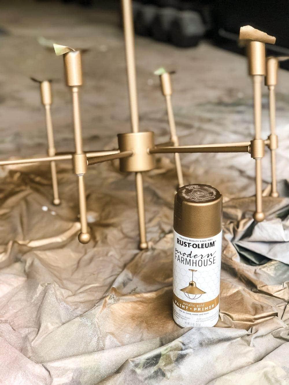 Chandelier Makeover The Best Brass Spray Paint Bless Er House