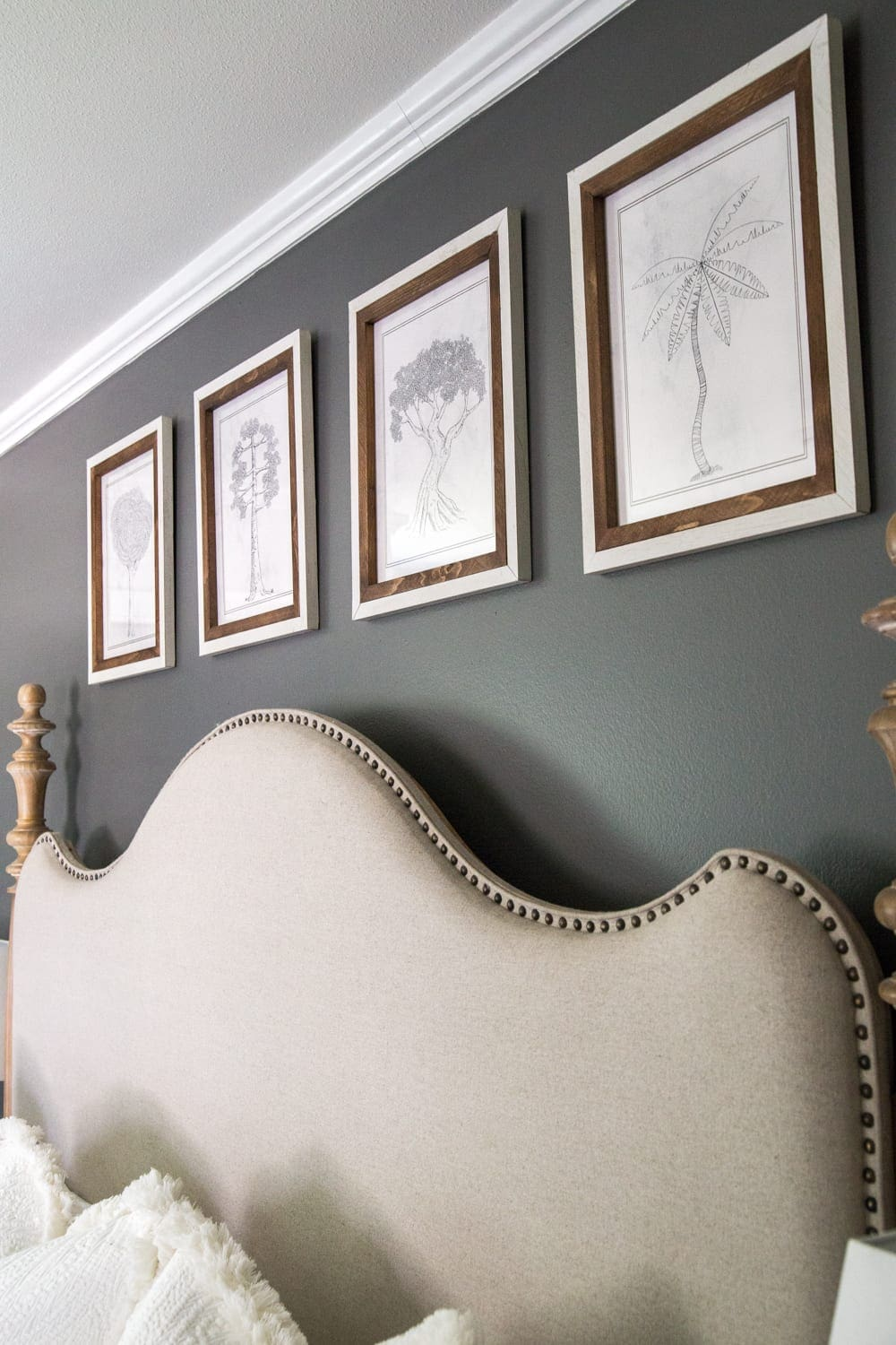 Simple, minimalist art ideas from Walmart that work perfectly in a bedroom to evoke a peaceful mood + charcoal gray wall paint