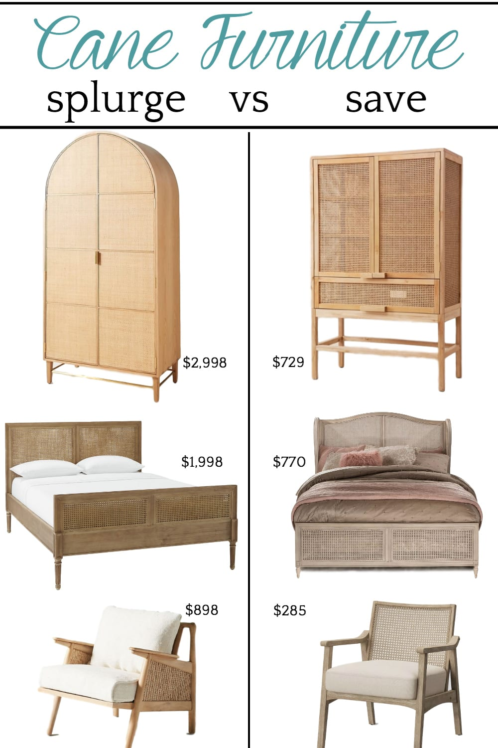 A budget shopping guide of designer cane furniture and their less expensive lookalikes.