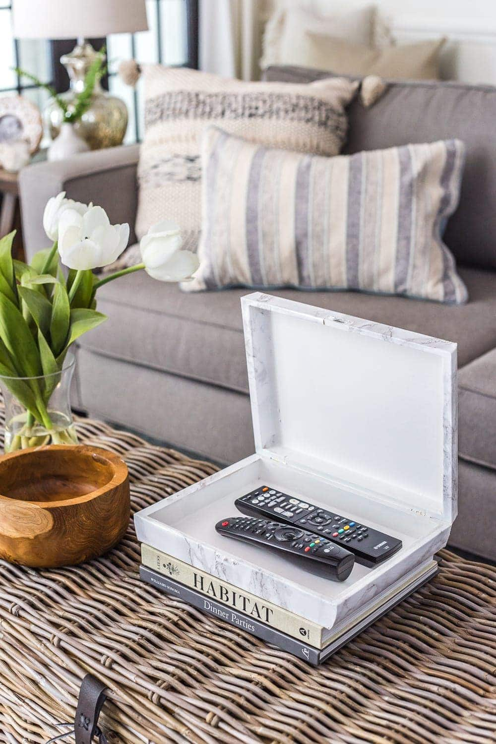 remote control holder on a coffee table