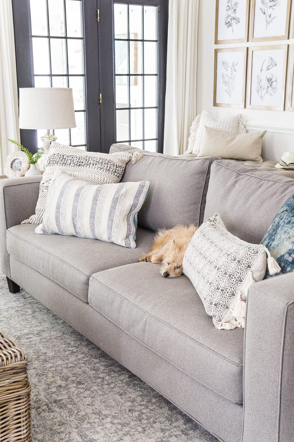"""A full review about our Minna Home sofa that stands up to kid messes and pet stains, and why we love Modsy's design services to """"try on"""" furniture."""