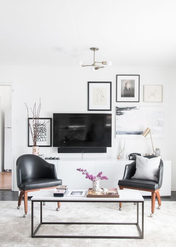 Add an eclectic gallery wall behind your TV