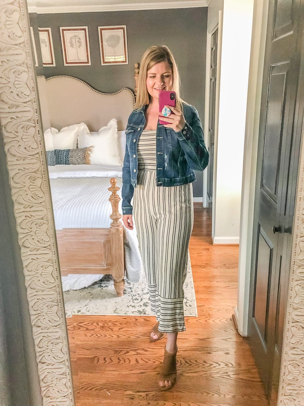 7 Inexpensive Tummy Hiding Mom Friendly Fall Outfits - fall jumpsuit with denim jacket and booties