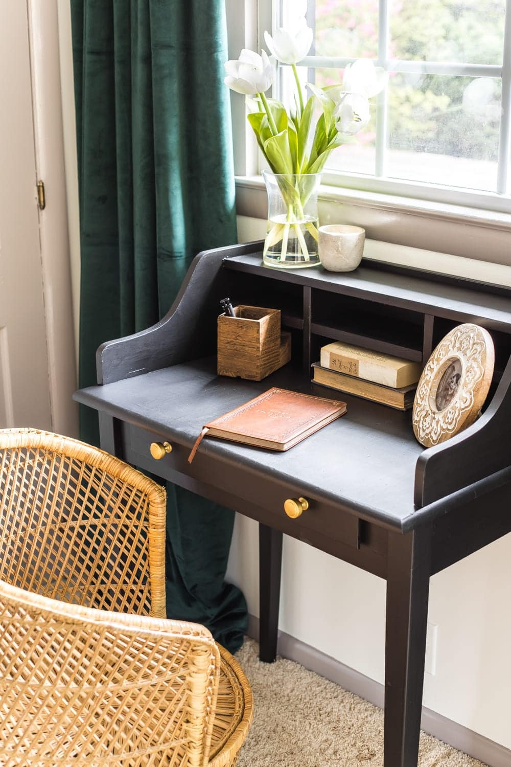 Vintage writing desk makeover in a guest bedroom