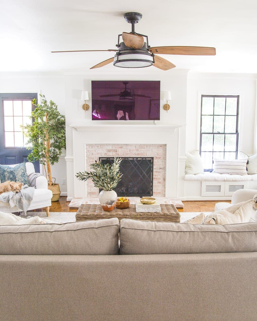 Rustic modern ceiling fan in a neutral living room