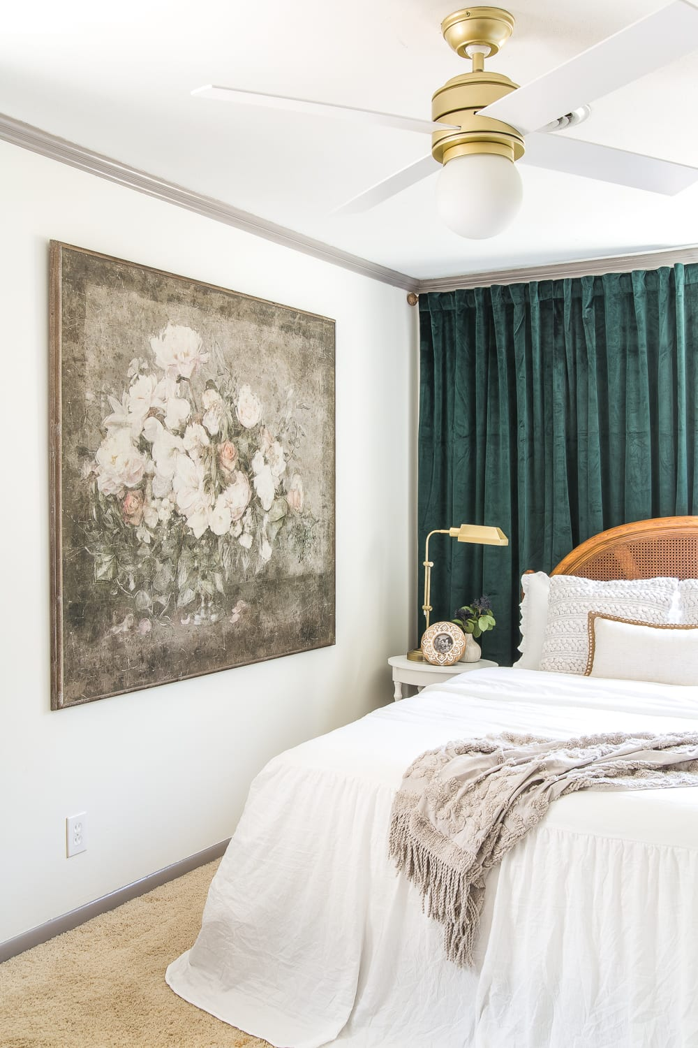 Vintage chic statement art in a guest bedroom