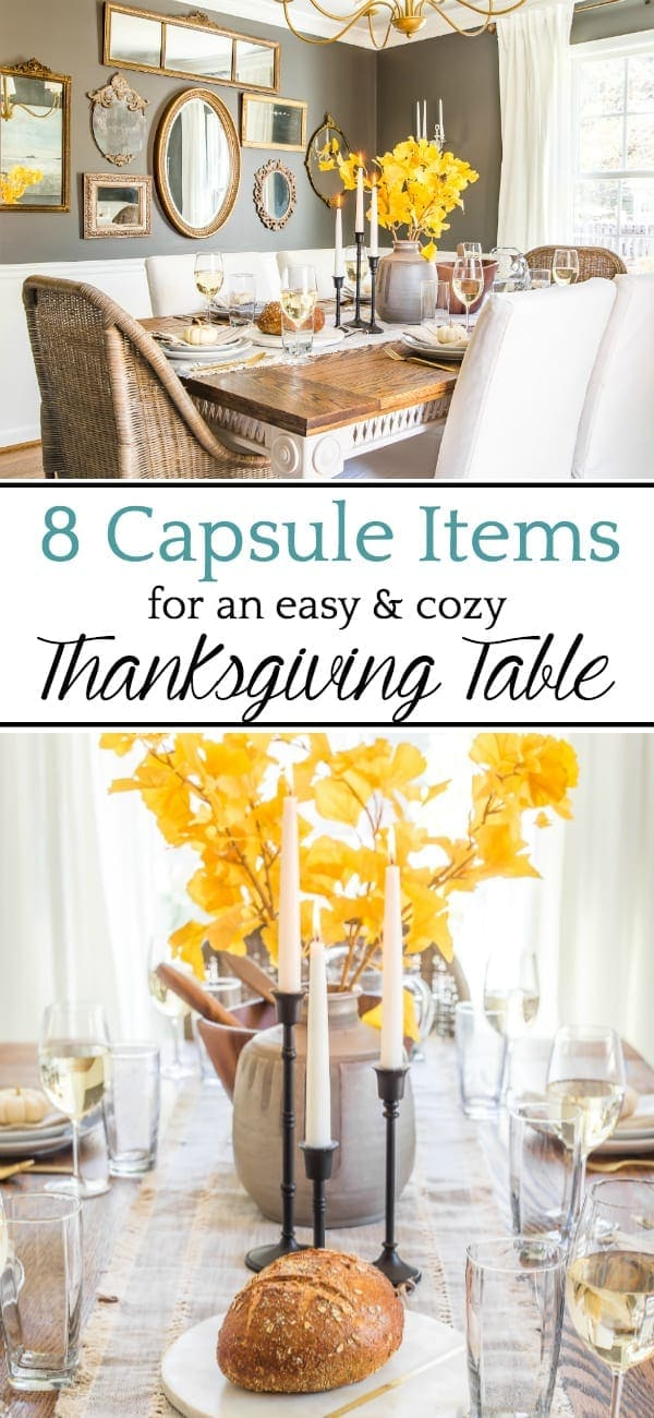 Tips for incorporating classic pieces from Walmart on a Thanksgiving table that save storage space, time, money, and create versatility for every season of decorating.