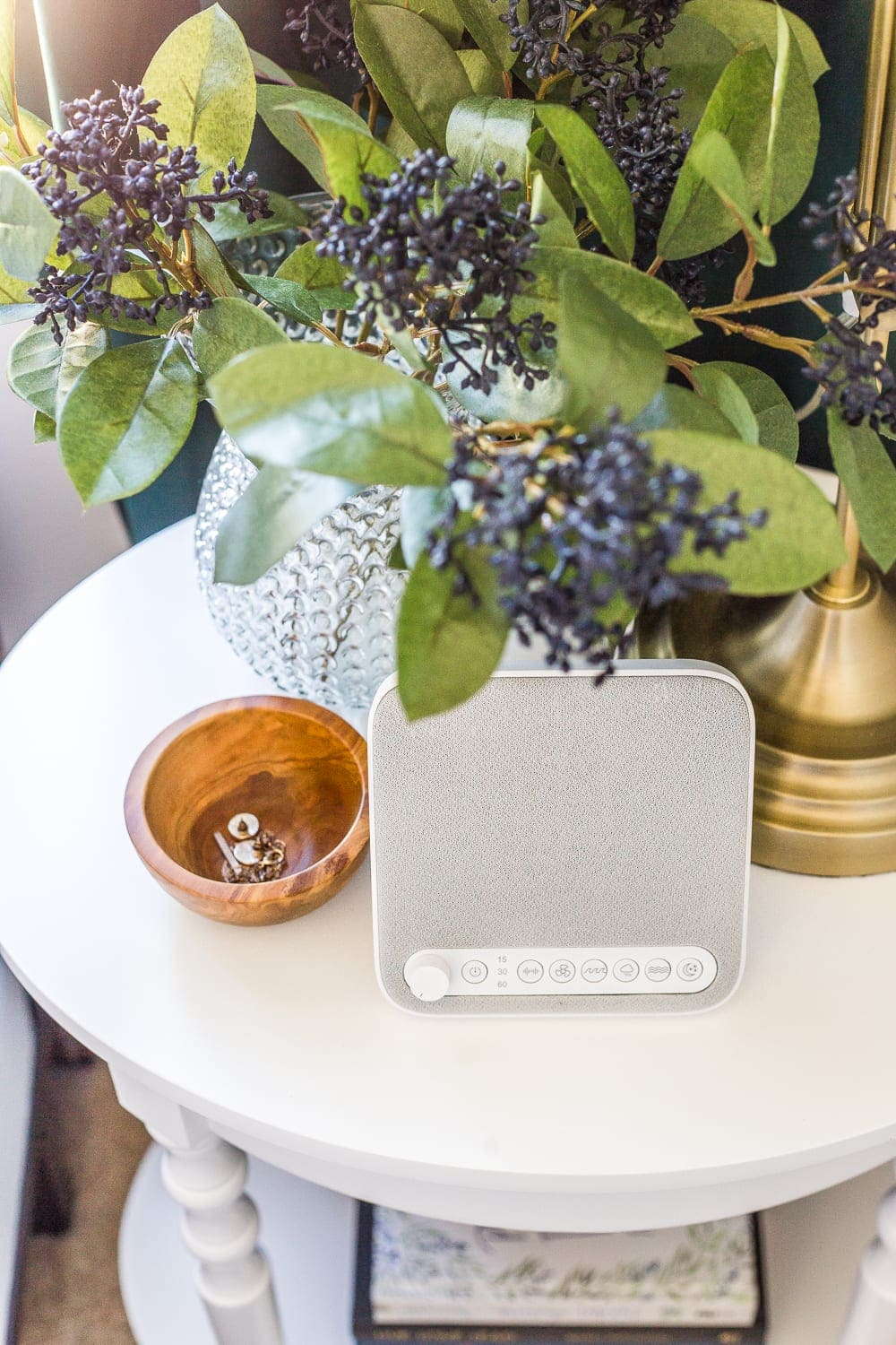 38 Guest Bedroom Essentials | Keep a sound machine and small dish for jewelry/coins on the bedside table.