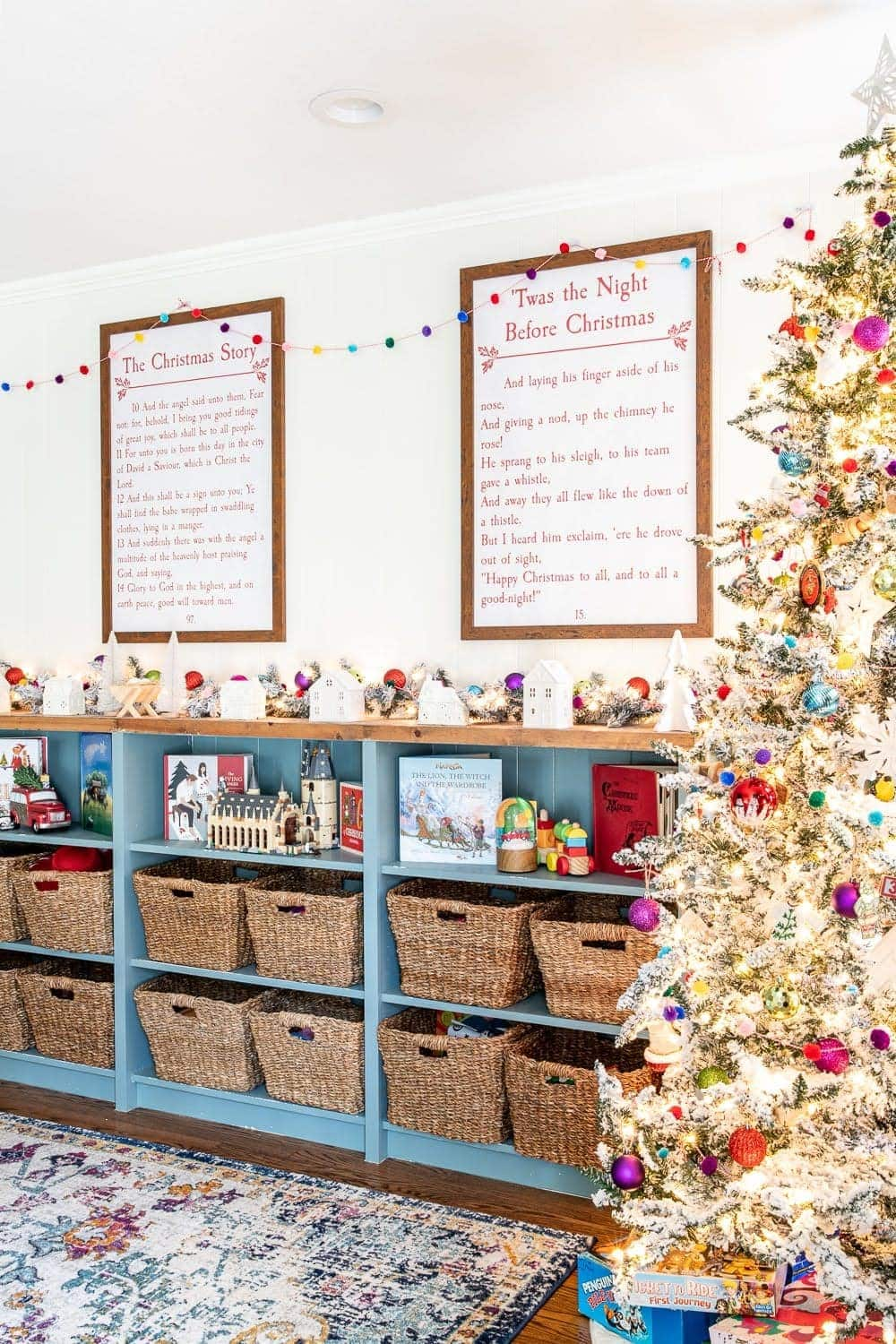 Colorful Christmas Playroom and how to hang Christmas art and garland without damaging walls