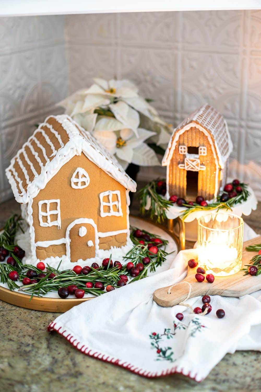 Display this pre-built gingerbread house on your kitchen countertops for a festive Swedish-inspired Christmas look