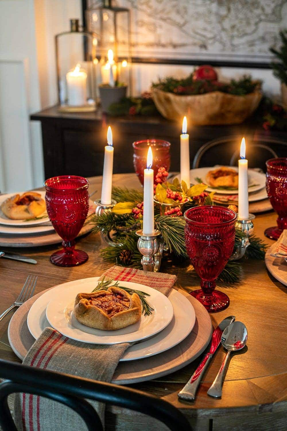 Swedish Christmas centerpiece using an advent candelabra to mimic the St. Lucia crown