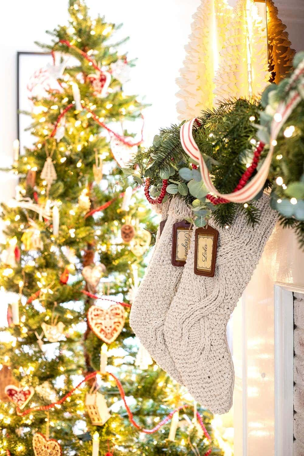 Chunky knit stockings for Swedish Christmas style