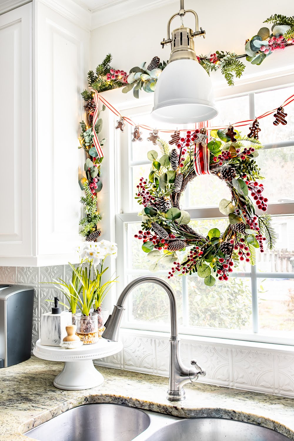 Eucalyptus and red berry wreath and garland