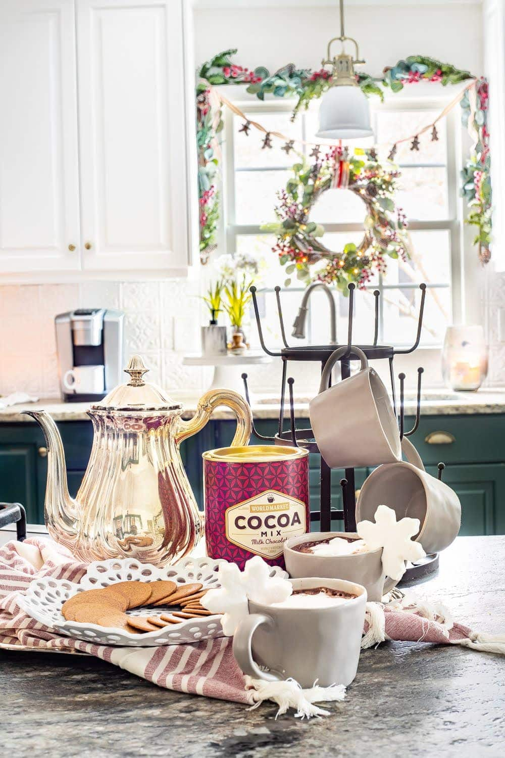 Christmas kitchen with hot cocoa station