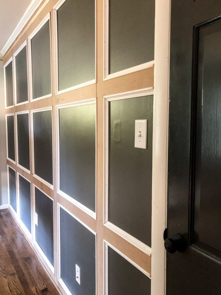 DIY Traditional Grid Molding Focal Wall