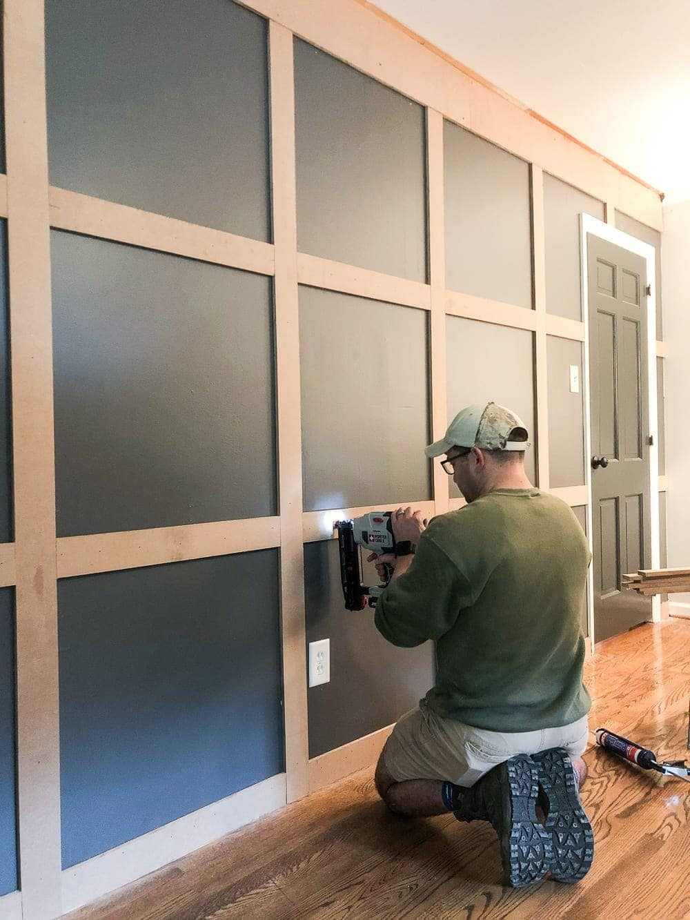 DIY Traditional Style Grid Molding Focal Wall | How to build a traditional style board and batten grid molding focal wall to add character and depth to any room.