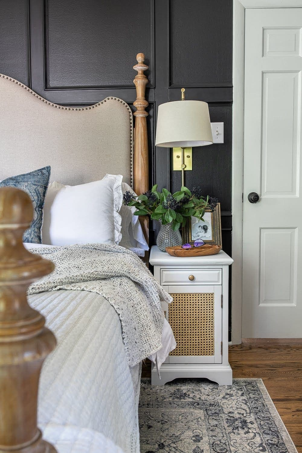 DIY Cane Nightstand Makeover | How to turn a basic glass cabinet nightstand into a designer-worthy cane style that works for both modern and traditional styles.