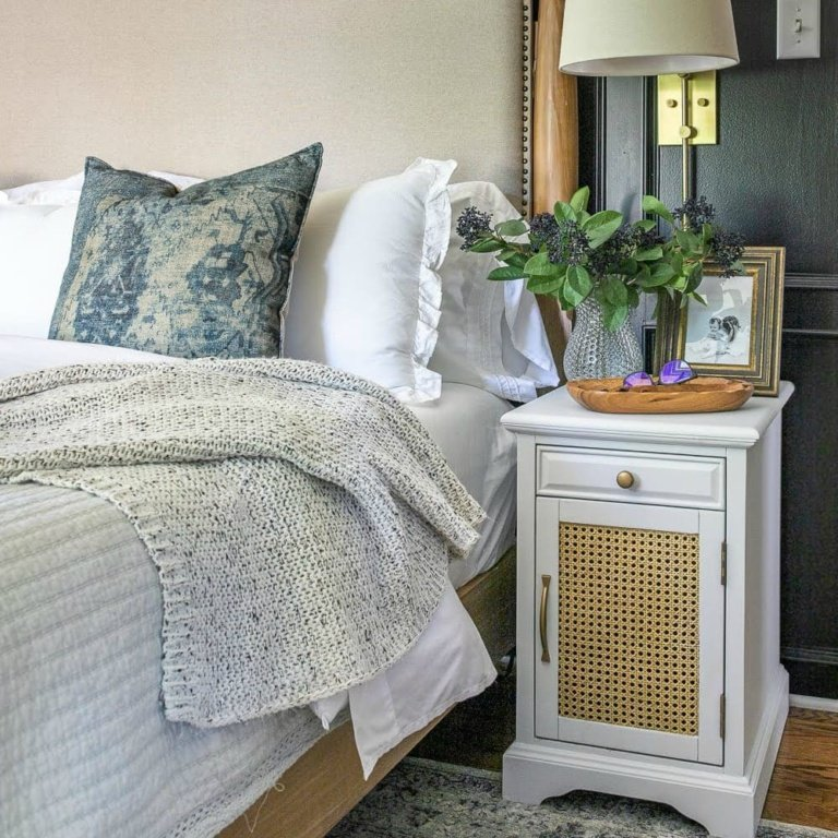 DIY Cane Nightstand Makeover