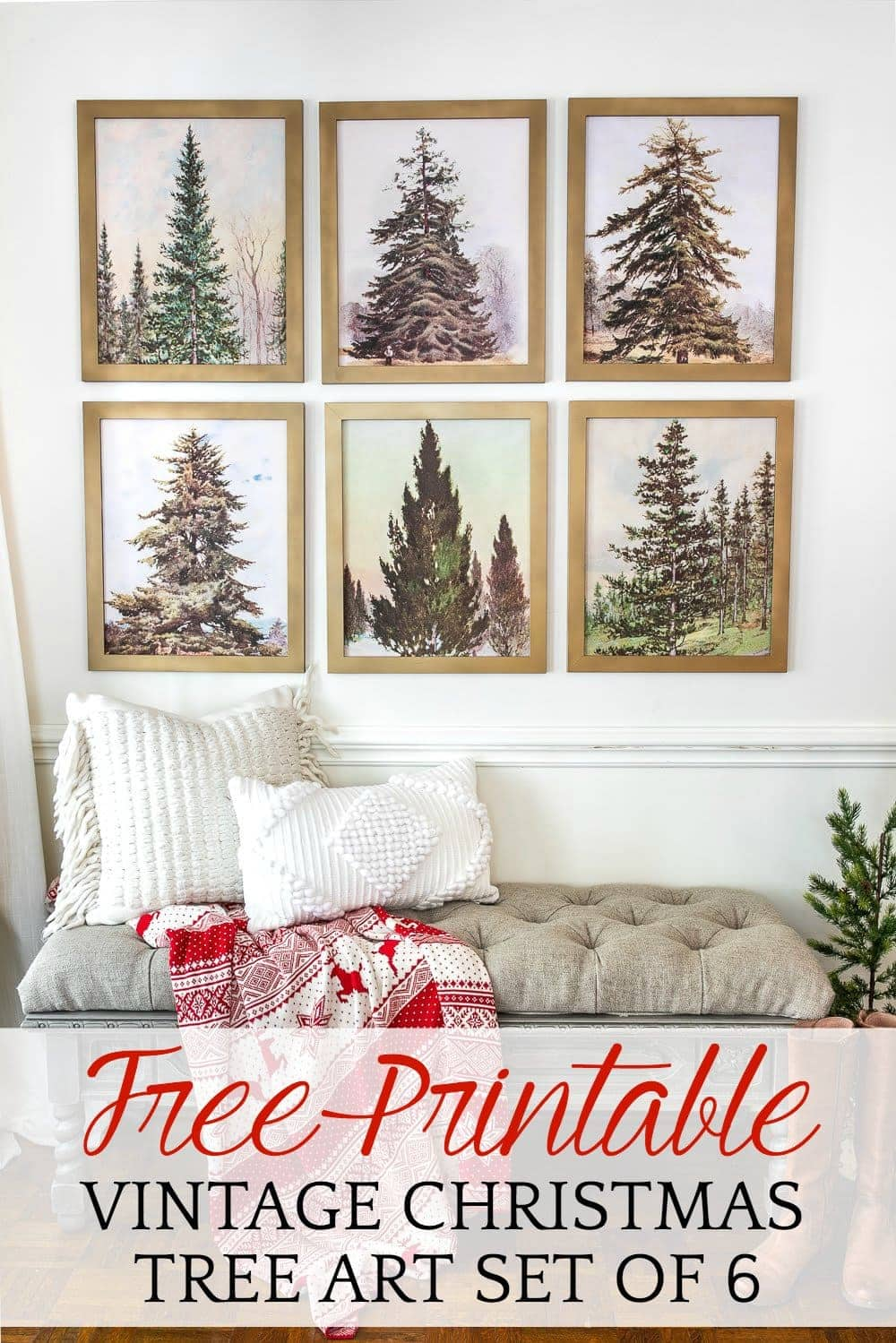 Free Printable Vintage Christmas Tree Art | A free Christmas printable art set of 6 featuring vintage Christmas trees that work in all types of decorating styles. #printableart #Christmasart