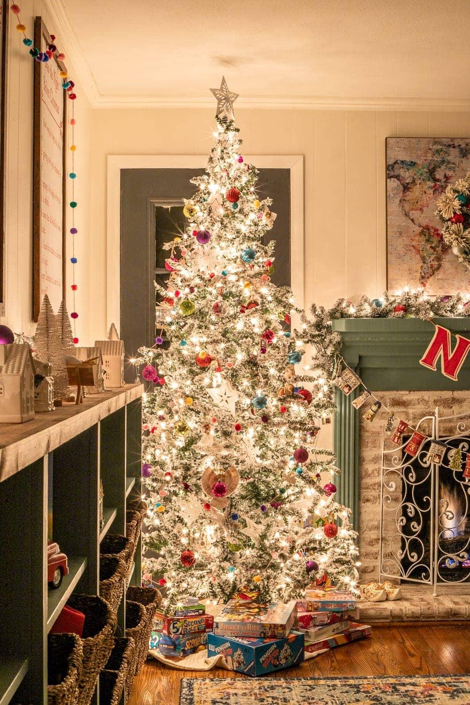 Christmas playroom tree at night