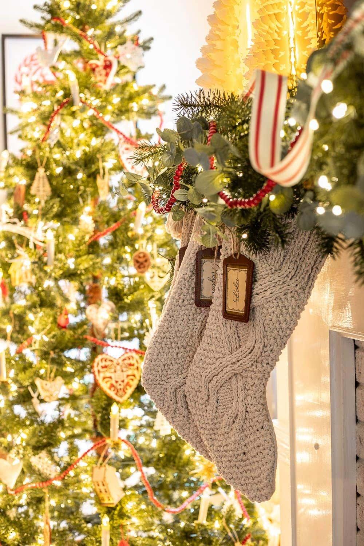 Christmas stockings at night